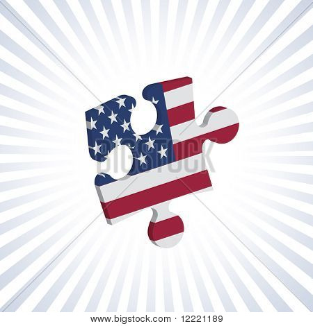 Jigsaw piece with American flag over circular stripes