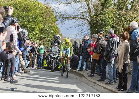 Conflans-Sainte-Honorine,France-March 62016: The Spanish cyclist Alberto Contador of Tinkoff Team riding during the prologue stage of Paris-Nice 2016.