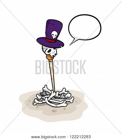 Skull on Pile of Bones, a hand drawn vector illustration of a skull wearing a top hat on pile of bones.