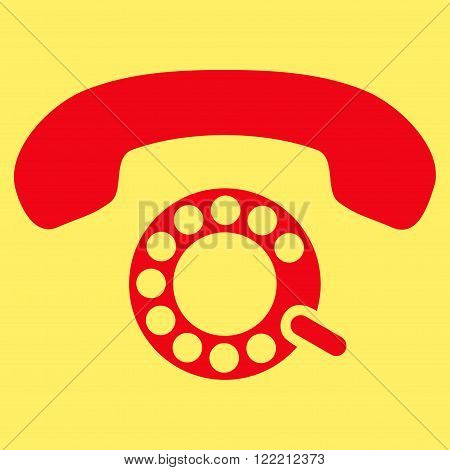 Pulse Dialing vector icon. Picture style is flat pulse dialing icon drawn with red color on a yellow background.