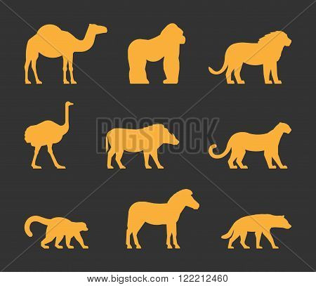 Vector gold set of silhouettes african animals. Icon dromedary gorilla and lion. Figure ostrich warthog and leopard. Symbol zebra lemur and hyena. Silhouette african animals isolated.