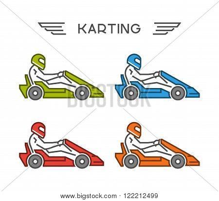 Modern outline go kart symbol. Vector figures art racer. Multicolored linear karting logo. Vector line kart. Vector karting icons.