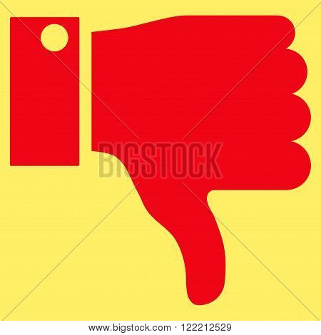 Thumb Down vector icon. Picture style is flat thumb down icon drawn with red color on a yellow background.