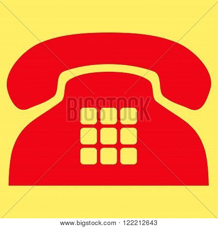 Tone Phone vector icon. Picture style is flat tone phone icon drawn with red color on a yellow background.