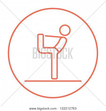 Man practicing yoga line icon.