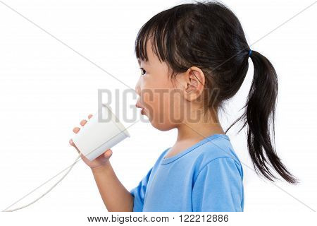 Asian Little Chinese Girl Playing With Paper Cup