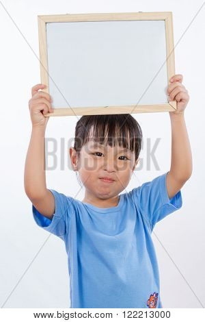 Asian Little Chinese Girl Holding A Whiteboard