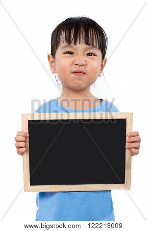 Asian Little Chinese Girl Holding A Blackboard