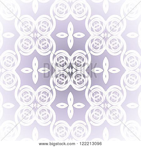 Abstract geometric seamless background. Shiny and elegant retro pattern. White spiral ornaments and ellipses on lilac, centered and blurred, delicate and dreamy.