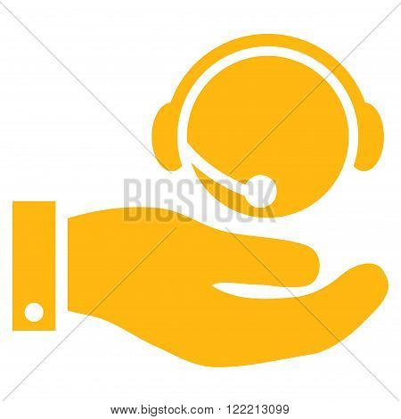 Call Center Service vector icon. Picture style is flat call center service icon drawn with yellow color on a white background.