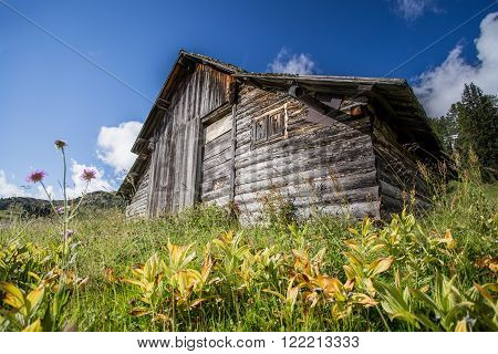 Old wooden Cabin in sudTirol, Dolomites, Italy