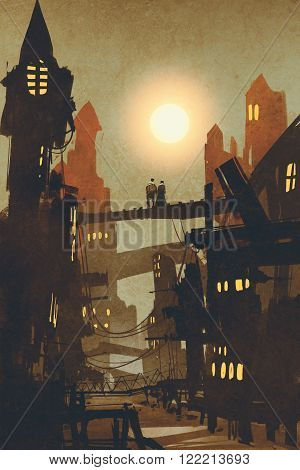 night scene of couple on bridge over city backgroundillustration
