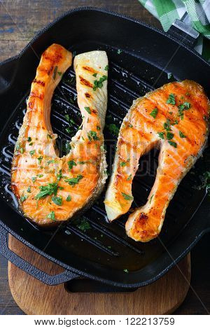 Grilled Salmon Steak On A Griddle Pan