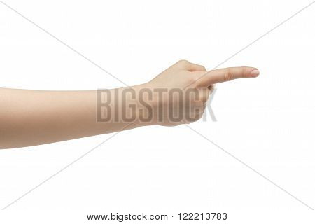 young woman right hand counting one or show direction isolated  on a white isolated background