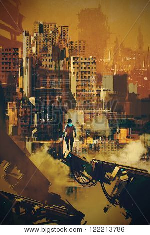 man standing on futuristic architecture, illustration digital painting