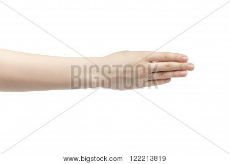 young woman right hand counting four isolated  on a white isolated background