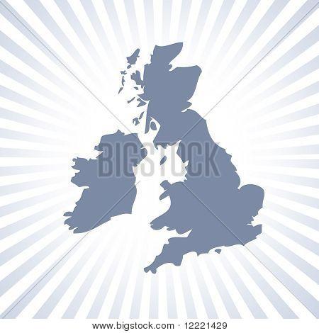 Mapa de contorno do Reino Unido e Eire sobre padrão de listra