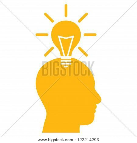 Genius Bulb vector icon. Picture style is flat genius bulb icon drawn with yellow color on a white background.