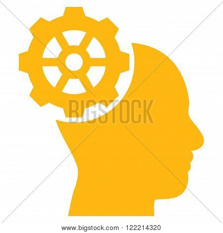 Head Gear vector icon. Picture style is flat head gear icon drawn with yellow color on a white background.