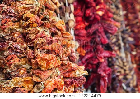 Dried paper on Egyptian Bazaar and the Grand Bazaar in Istanbul. Turkey
