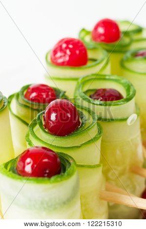 Cucumber Rolls With Frozen Cranberries