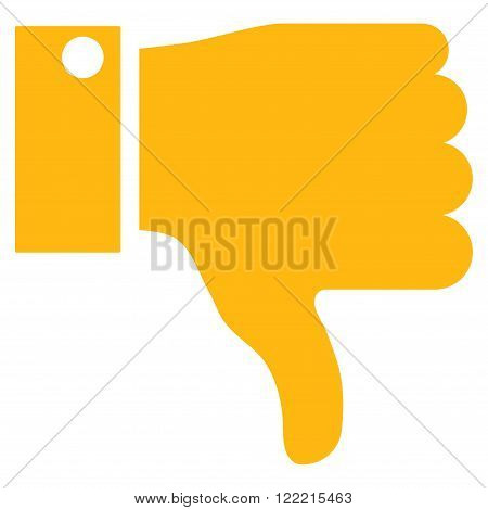 Thumb Down vector icon. Picture style is flat thumb down icon drawn with yellow color on a white background.
