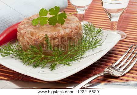 Traditional Russian Food - Meat In Aspic