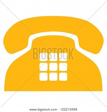 Tone Phone vector icon. Picture style is flat tone phone icon drawn with yellow color on a white background.