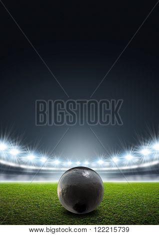 Shotput Ball In Generic Floodlit Stadium