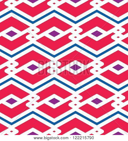 Bright endless vector texture motif abstract contemporary geometric background. Creative symmetric continuous pattern with intertwine rhombs and zigzag lines.