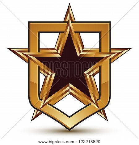 Vector Stylized 3D Symbol Isolated On White Background. Glamorous Golden Pentagonal Star Placed In A