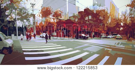 urban street in autumn, cityscape painting, paronamic view