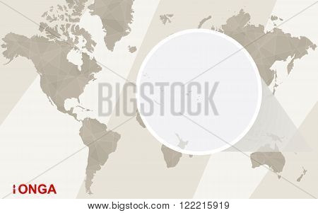 Zoom On Tonga Map And Flag. World Map.