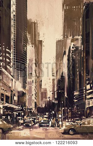 painting of city street with office buildings, artwork in retro style