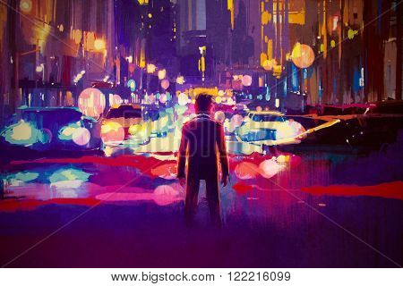 man standing on illuminated street at night, illustration painting