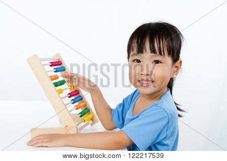 Asian Little Chinese Girl Playing Colorful Abacus