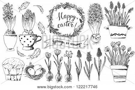Hand drawn easter deasign elements set. Easter wreath crocus hyacinths grape hyacinths bird nest easter eggs easter cake bird feathers. Happy easter hand lettering.