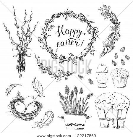 Hand drawn easter design elements set. Easter wreath easter willow bouquet pot of hyacinths bird nest easter eggs easter cake bird feathers. Happy easter hand lettering.