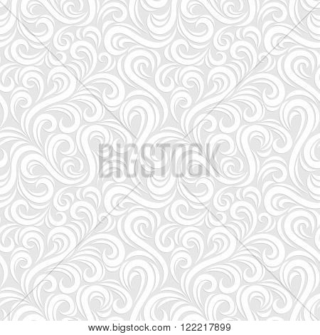 Swirl seamless pattern. Abstract white vector wavy background.