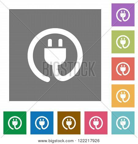 Power cord flat icon set on color square background.