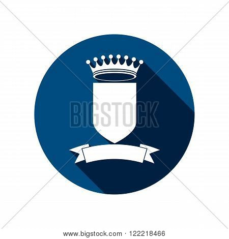 Royal Insignia, Security Shield With A King Crown Isolated On White. Heraldry, Imperial Coat Of Arms