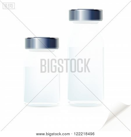Blank glass medical bottle, 3d realistic medical equipment.
