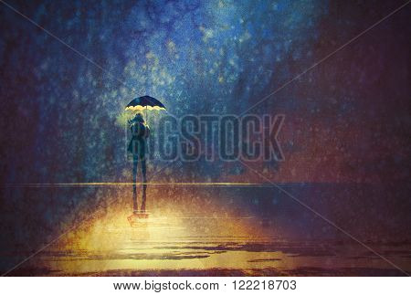 lonely woman under umbrella lights in the dark, digital painting