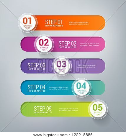 Five steps infographics - can illustrate a business strategy, workflow, brainstorming process, progress, success.