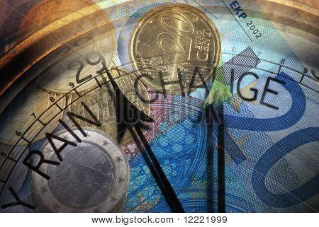 Sobrepostos com discagem barómetro de notas e moedas de euro