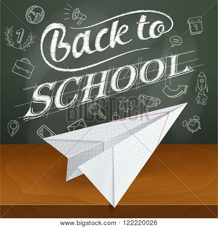 Back To School, Paper Plane, Leaf Notebook Into A Cell, Mechanical Drawing
