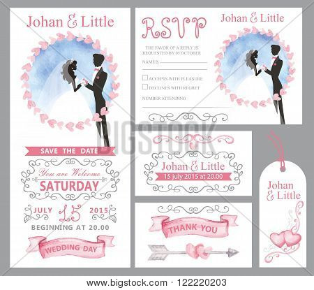 Watercolor wedding invitation card Pink hearts, Couple bride, groom silhouette with blue sky, grey swirling borders, frames decor, text.Tag, RSVP, Thank you, save the date.Cute artistic vector set