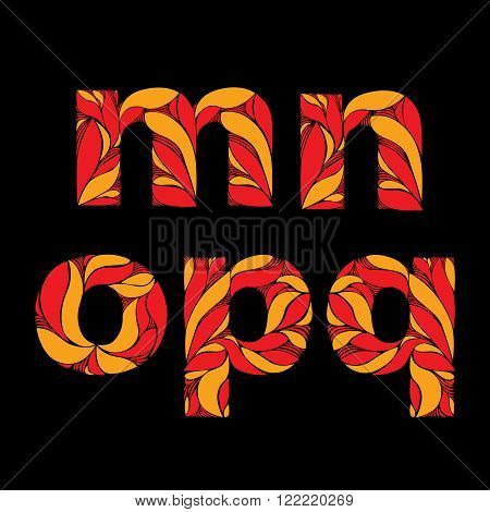 Vintage eco style font decorated with herbal pattern floral lowercase letters with red seasonal autumn leaves.
