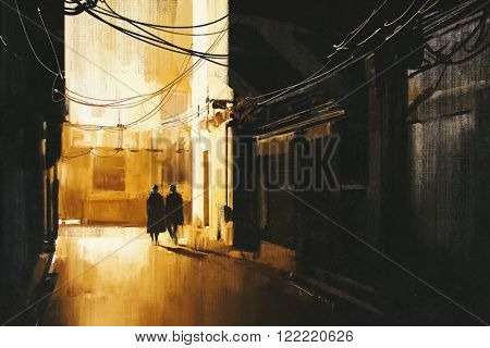 couple walking in alley at night, illustration painting