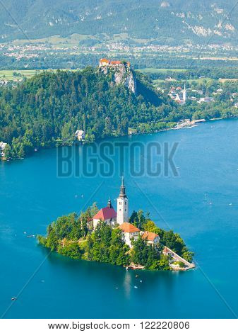 Lake Bled with St Mary's church on the island and Bled castle, Slovenia